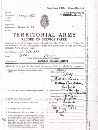 Territorial Army Record Of Service Paper - Click to open